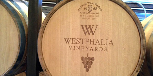 Westphalia Vineyards oak barrel aging